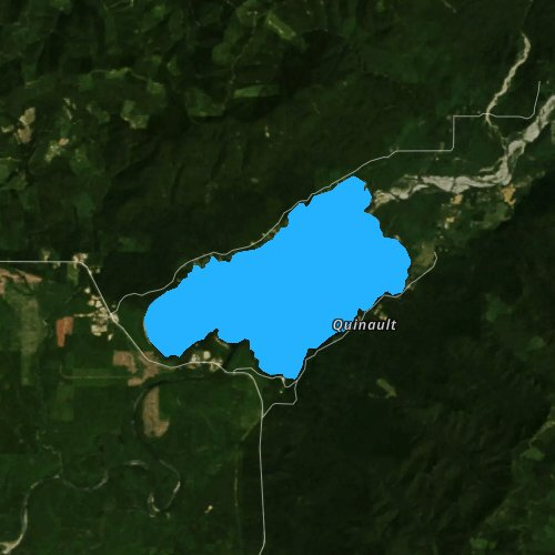 Fly fishing map for Lake Quinault, Washington