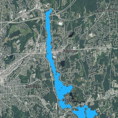 Fly fishing map for Lake Quinsigamond, Massachusetts