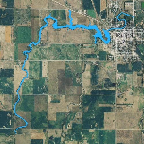 Fly fishing map for Lake Redfield, South Dakota