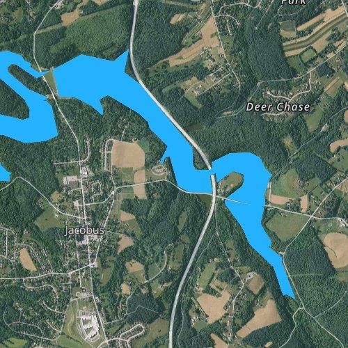 Fly fishing map for Lake Redman, Pennsylvania