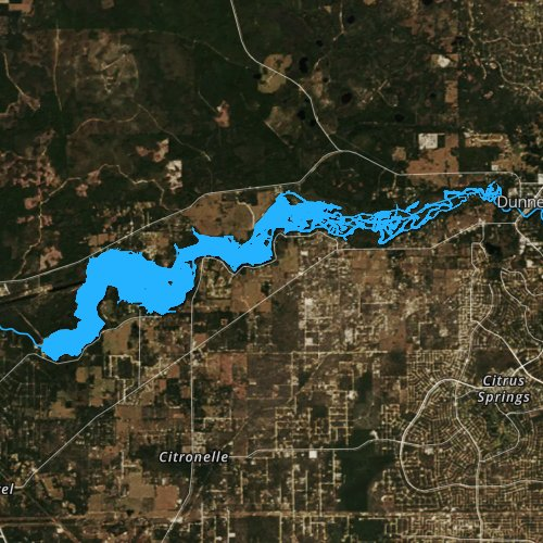 Fly fishing map for Lake Rousseau, Florida
