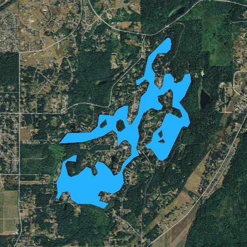 Fly fishing map for Lake Saint Clair, Washington