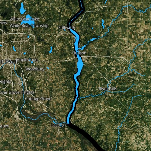 Fly fishing map for Lake Saint Croix, Wisconsin