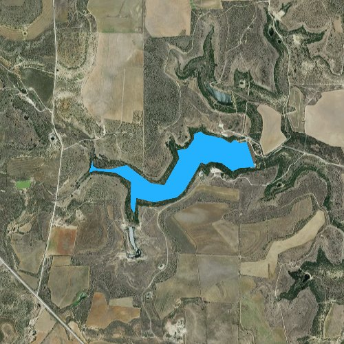 Fly fishing map for Lake Scarborough, Texas