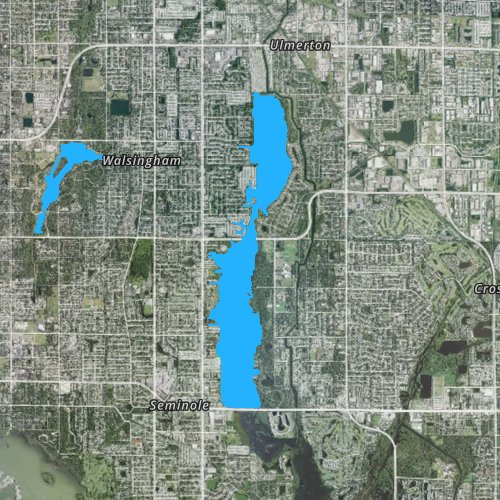 Fly fishing map for Lake Seminole: Pinellas, Florida