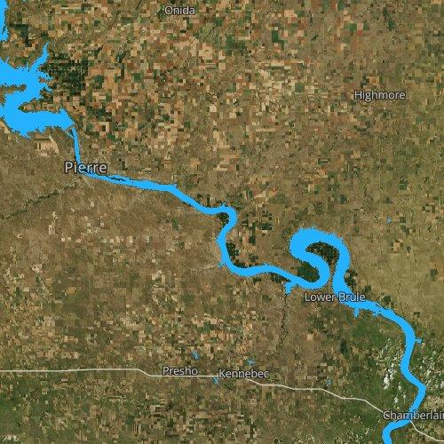 Fly fishing map for Lake Sharpe, South Dakota