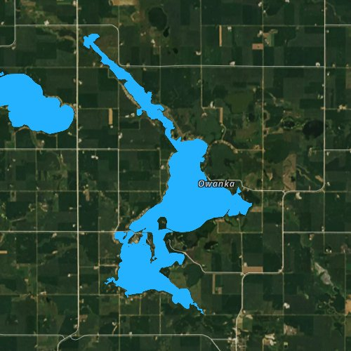 Fly fishing map for Lake Shetek, Minnesota