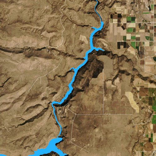 Fly fishing map for Lake Simtustus, Oregon