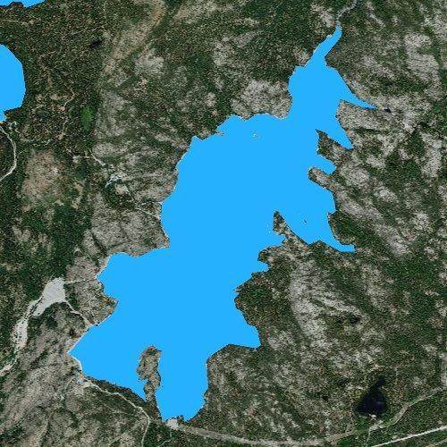 Fly fishing map for Lake Spaulding, California