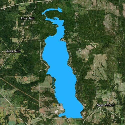 Fly fishing map for Lake Striker, Texas