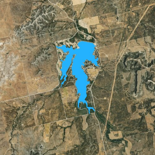 Fly fishing map for Lake Sweetwater, Texas