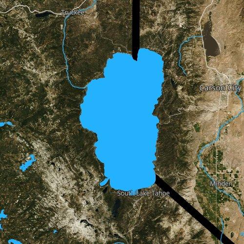 Fly fishing map for Lake Tahoe, California