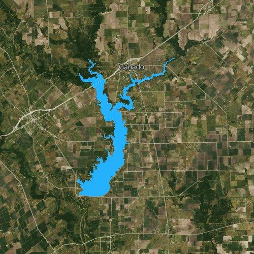 Fly fishing map for Lake Texana, Texas