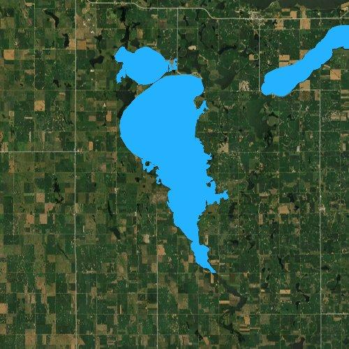 Fly fishing map for Lake Thompson, South Dakota
