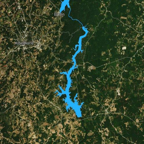 Fly fishing map for Lake Tillery, North Carolina