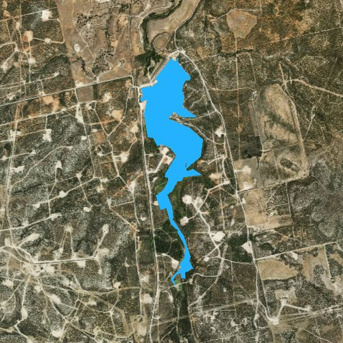 Fly fishing map for Lake Trammell, Texas