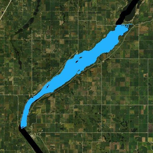 Fly fishing map for Lake Traverse, Minnesota