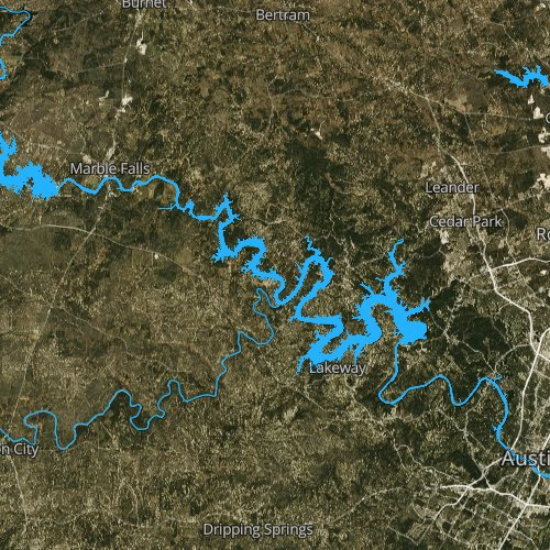 Fly fishing map for Lake Travis, Texas