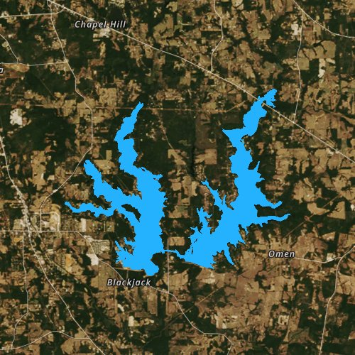 Fly fishing map for Lake Tyler, Texas