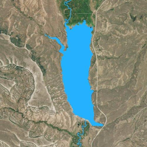 Fly fishing map for Lake Viva Naughton, Wyoming
