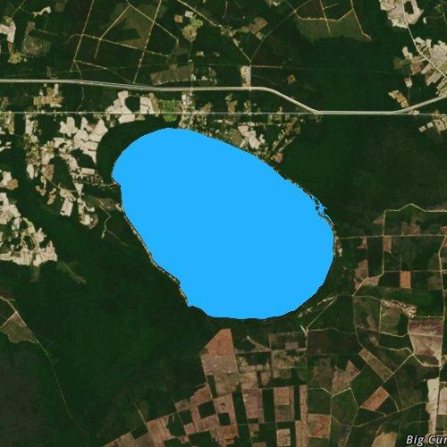 Fly fishing map for Lake Waccamaw, North Carolina