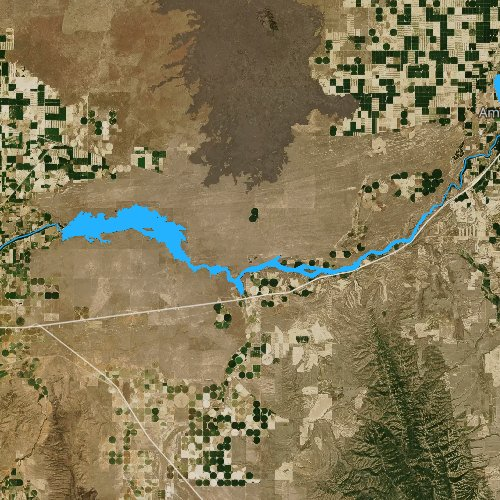 Fly fishing map for Lake Walcott, Idaho