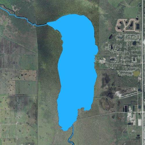 Fly fishing map for Lake Washington, Florida