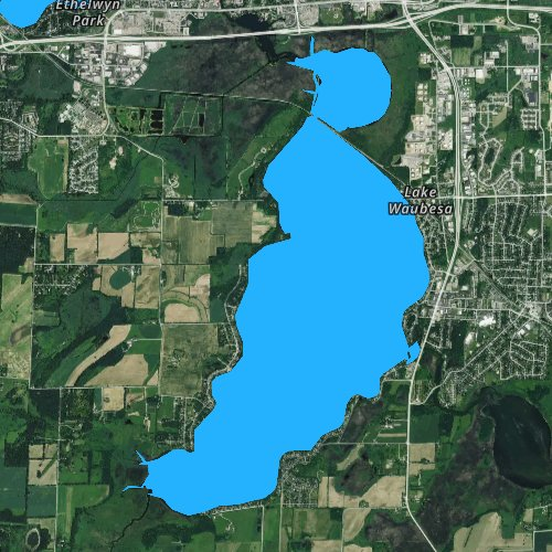 Fly fishing map for Lake Waubesa, Wisconsin