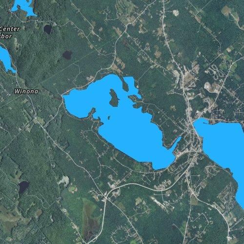 Fly fishing map for Lake Waukewan, New Hampshire