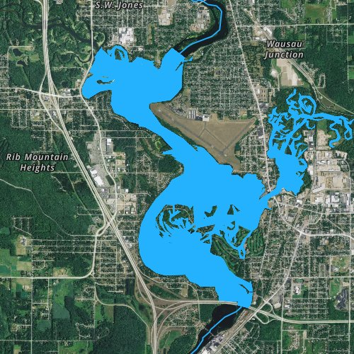 Fly fishing map for Lake Wausau, Wisconsin
