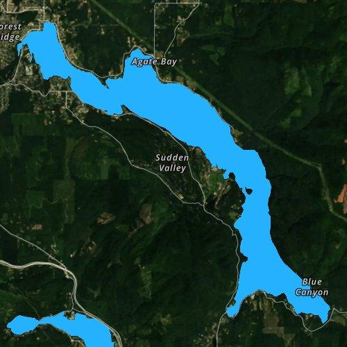 Fly fishing map for Lake Whatcom, Washington