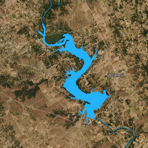 Fly fishing map for Lake Whitney, Texas
