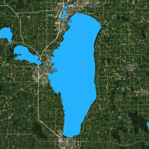 Fly fishing map for Lake Winnebago, Wisconsin