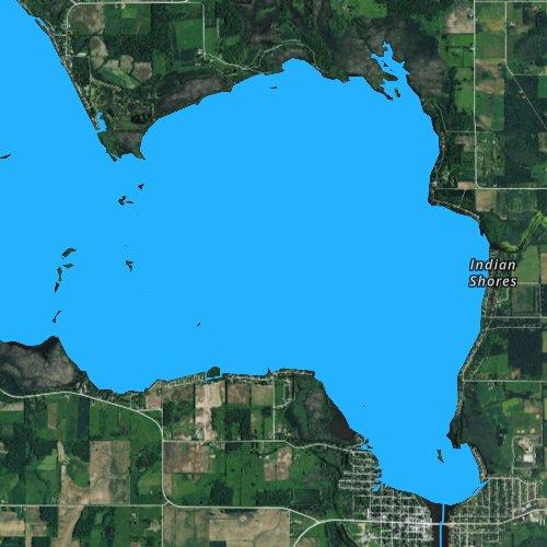 Fly fishing map for Lake Winneconne, Wisconsin