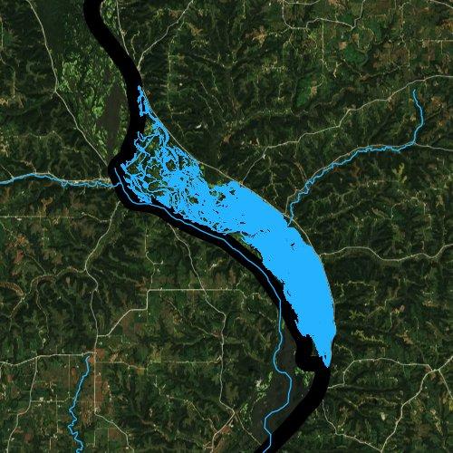 Fly fishing map for Lake Winneshiek, Wisconsin