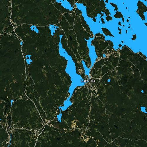 Fly fishing map for Lake Winnisquam, New Hampshire