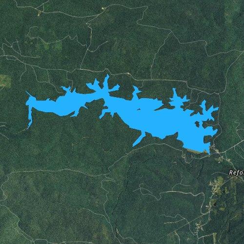 Fly fishing map for Lake Winona, Arkansas