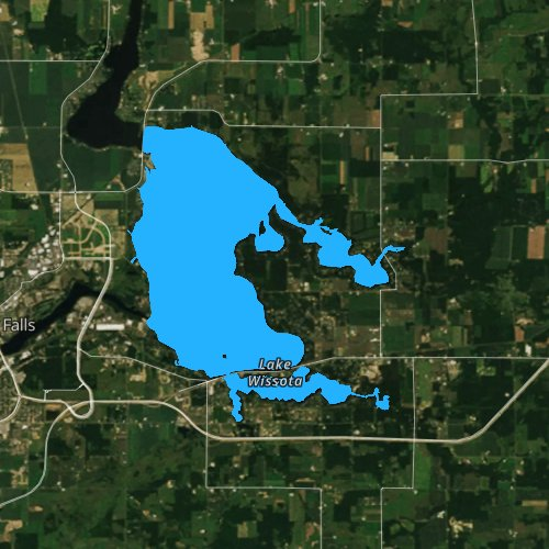 Fly fishing map for Lake Wissota, Wisconsin