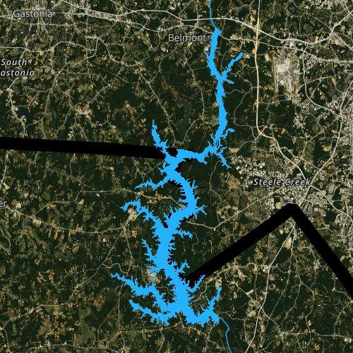 Fly fishing map for Lake Wylie, South Carolina