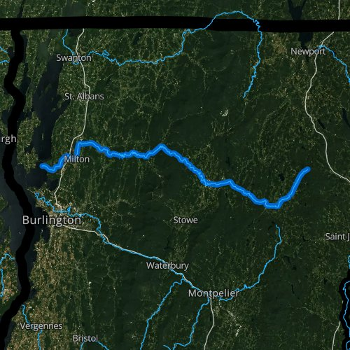 Fly fishing map for Lamoille River, Vermont