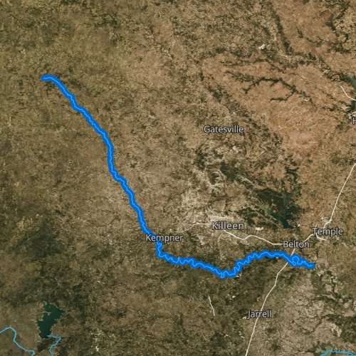 Fly fishing map for Lampasas River, Texas