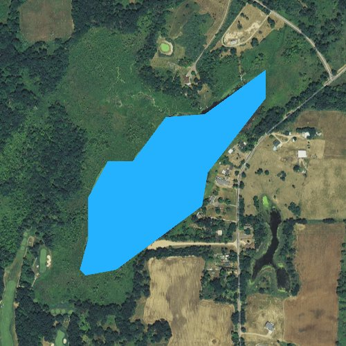 Fly fishing map for Lane Lake, Michigan
