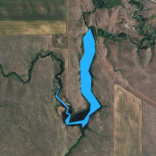 Fly fishing map for Lantry Lake, South Dakota