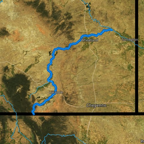 Fly fishing map for Laramie River, Wyoming