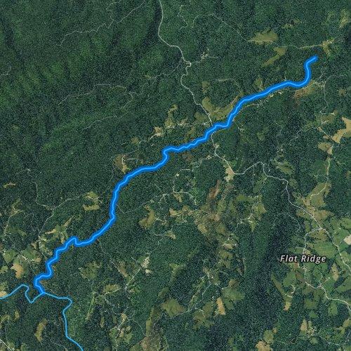 Fly fishing map for Laurel Creek, Virginia