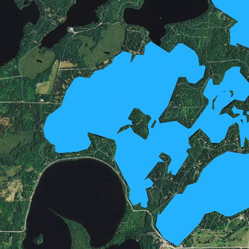 Fly fishing map for Laurel Lake, Wisconsin