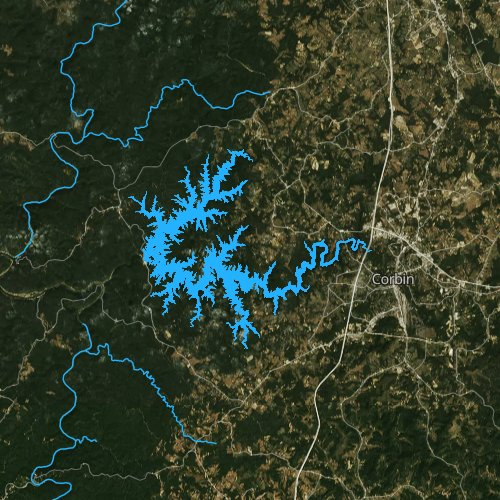 Fly fishing map for Laurel River Lake, Kentucky
