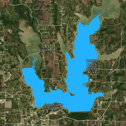 Fly fishing map for Lavon Lake, Texas