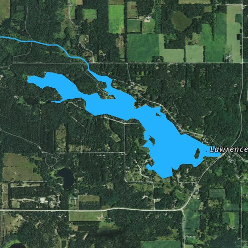 Fly fishing map for Lawrence Lake, Wisconsin
