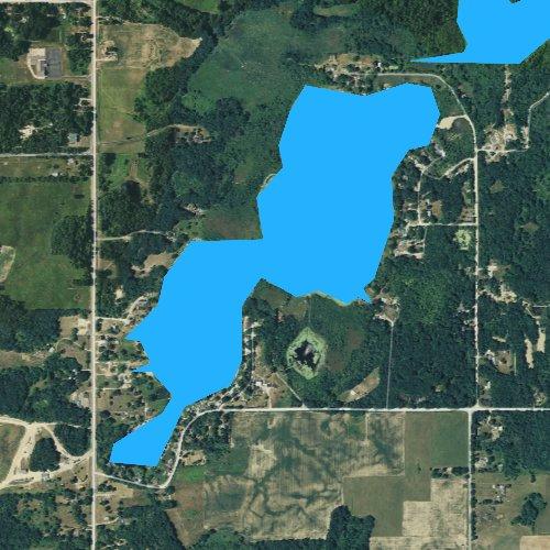 Fly fishing map for Leach Lake, Michigan